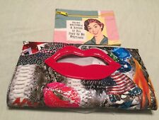 "Union Jack Clutch Purse Photos & Red Lips Vinyl 12.5""x 7"" Magnetic Closure (2pc)"