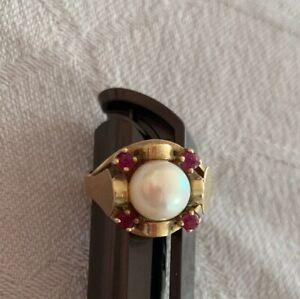 Alter Ring Gold 585 mit Perle und Rubine