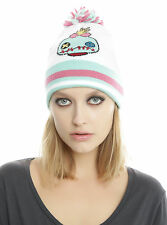 Disney Lilo & Stitch SCRUMP DOLL Varsity Pom Beanie Hat Cap Pink/Green/White NWT