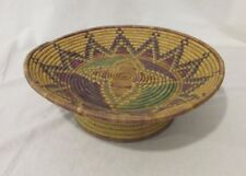Beautiful Native American hand woven pedestal bowl star pattern Coil Weave 12""