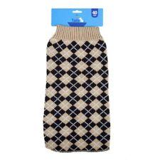 Tails Pet Jacket Knit Argyle 40cm - Oatmeal
