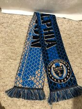 PHILADELPHIA UNION LONG SPORT SOCCER SCARF ADIDAS BLUE TAN DUAL SIDE REVERSIBLE