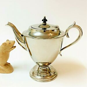 HECKWORTH Vtg Silverplate EPNS Pedestal Teapot 21cmT Hinged Lid, Bakelite Finial