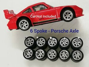 6 SPOKE HOT WHEELS CUSTOM WHEELS RUBBER WHEELS TIRES 5 SETS 10mm Porsche 993 Axl