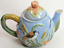 Vintage 1960's Ceramic Teapot with Embossed Birds Dragonflies Lilypads Marsh