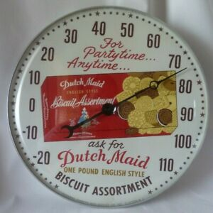 RARE Minty Vintage DUTCH MAID English Biscuit Cookies THERMOMETER Advertising