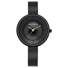 Ladies Slim Quartz Analog Wrist Watch Dress  Mesh Belt Women Wristwatch Black