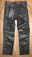 """ HARD LEATHER STUFF "" Schnür- LEDERJEANS / Lederhose in schwarz ca. W29"" /L30"""