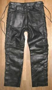 """"""" HARD LEATHER STUFF """" Lace-Up Jeans/Leather Trousers IN Black Approx. W28 """" /"""