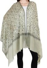 Pure Cashmere Ivory Pashmina Black Embroidered overall Luxury Royal Soft