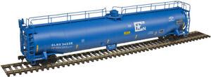 Atlas HO Scale ACF 33,000 Gallon Tank Car GLNX Corporation (Blue/White) #34236