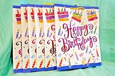 Lot 8 Happy Birthday Bag Bags Paper 12.5 x 10 Blue Pink Yellow Gift Handles