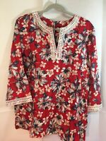 Alfred Dunner Womans Sz18 Red Blue Floral Tunic Top Blouse Crochet Lace Trim EUC