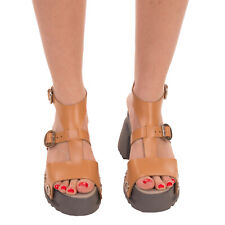 RRP €180 BOOMY Leather Ankle Strap Sandals Size 39 UK 6 US 9 Platform Sole
