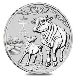 2021 1 oz Silver Lunar Year of The Ox BU Australian Perth Mint In Cap