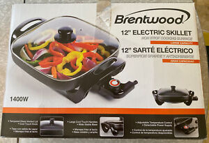 Brentwood SK-65 12-inch Non-Stick Electric Skillet W/ Glass Lid 1400w Brand New