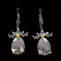Handmade Natural Blue Opal 925 Sterling Silver Earrings /E36393