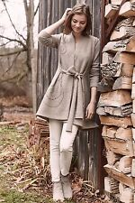NWOT Anthropologie Embroidered Boiled Wool Sweater Coat Size Large