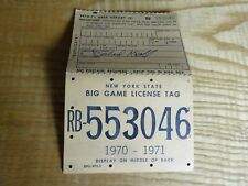 1970 New York Citizen Resident Big Game Hunting Deer Back Tag Rb-553046