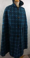 Vintage Welsh Tapestry wool 'Corgi' Cape MOD 60's  size 10 12 14 blue crosses