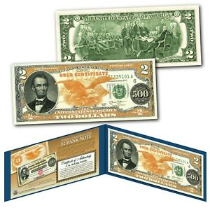 1882 Series Abraham Lincoln $500 Gold Certificate designed on a Modern $2 Bill