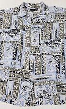 Guess Jeans Mens XL Hawaiian Shirt 100% Rayon Casual Geometric Floral