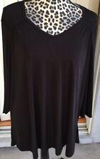 Plus Size Carolyn Strauss Shirt PETITE 2X Pullover 3/4 Sleeve Top Black (I891)