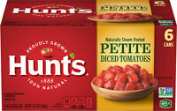 Hunt's Petite Diced Tomatoes, 100% Natural Chopped Tomatoes, 14.5 Oz, 6 Cans