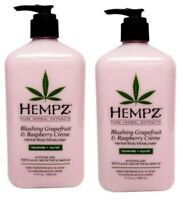 LOT 2 Hempz BLUSHING GRAPEFRUIT And RASPBERRY Creme Moisturizer Lotion 17 oz