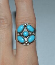 NAVAJO STERLING SILVER AND SLEEPING BEAUTY TURQUOISE RING SIZE ADJ