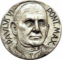Vatican Christian POPE Paul VI Genuine Vintage 1966 HUGE 5cm Medal JESUS i75564
