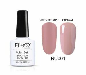 Elite99 Gel Nail Polish Nude Collection UV LED Matte Top Base Coat 10ML UK NU001