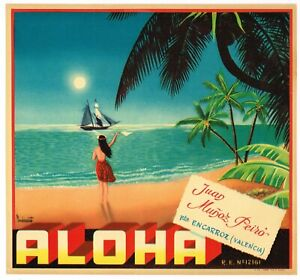 ORIGINAL ORANGE CRATE LABEL SPANISH 1950S ALOHA HAWAII BEACH SAILBOAT HAWAIIAN