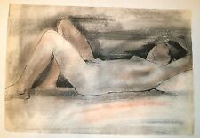 Reclining/Sleeping Young Nude Woman-Mixed Media-W/C Painting-1955-August Mosca