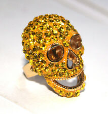 Butler and Wilson LARGE Yellow Crystal Enamel Skull Ring ONE SIZE