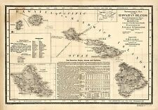 "1893 MAP of Hawaiian Islands, Hawaii, Maui, Oahu, Kauai, antique, 28""x20"" print"