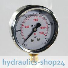 Manometer NG63 Glyzerin gefüllt, 0-250 bar, Hydraulik, Glycerin, Anschluß unten