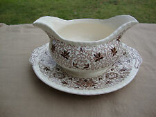 Mason's Patent Ironstone China England Bow Bells Gravy Boat With Under Plate