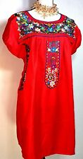 FIESTA Short Red Mexican Dress Embroidered FLORAL Peasant  5 DE MAYO Size M/L