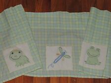 LAMBS & IVY FROG VALANCE DRAGONFLY PRINCE FROGGY TALES GREEN YELLOW PLAID 67x13""