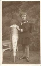 Schule, Schulanfang, Kind mit Schultüte im Matrosenanzug, Foto-Ak Reichenbach V.