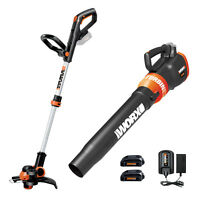 WORX WG921 20V PowerShare Grass Trimmer / Edger & Leaf Blower with (2) Batteries