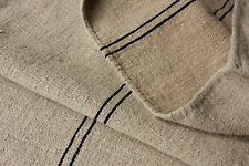 Antique GRAINSACK natural indigo blue stripe hemp organic fabric grain sack 23 W