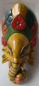 Wooden carved ganesha god face mask statue elephant lord multicolor home decor