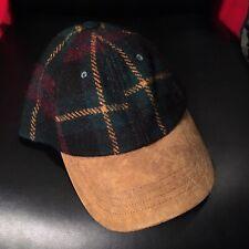 POLO RALPH LAUREN Wool Cow Leather Plaid Strap Back Hat Cap
