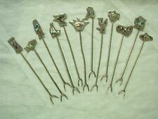 12 VTG MEXICO ALPACA MOTHER OF PEARL  FIGURAL HORS D'OEUVRE COCKTAIL PICKS FORKS