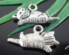 Free Ship 25pcs Tibetan Silver Cat Charms 20x11mm  (Lead-free)
