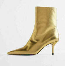 ZARA GOLD LEATHER MID HEEL ANKLE BOOTS SHOES BOOTIES SIZE US8 UK6 EU39 NEW