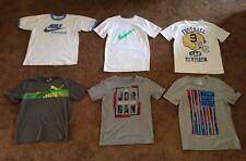 6pc Yth. Boy's Name Brand Adidas,Nike,Puma,etc. White/Gray Graphic T-Shirts, LG