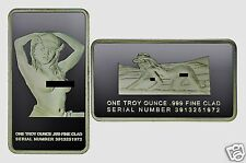 """RARE Woman SILVER CLAD ART BAR- """"Lost Her CHALLENGE COIN In The Sand"""" Series"""
